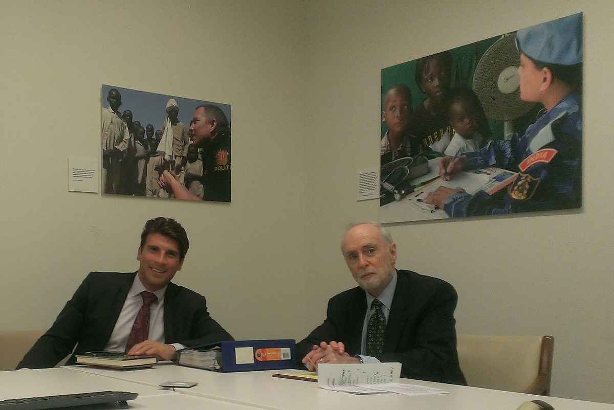 Sydney Schanberg at the United Nations, NYC with UN counsel Andrew Cheatham, NYC, to testify by video link at the Cambodia War Crimes Tribunal, June 2013