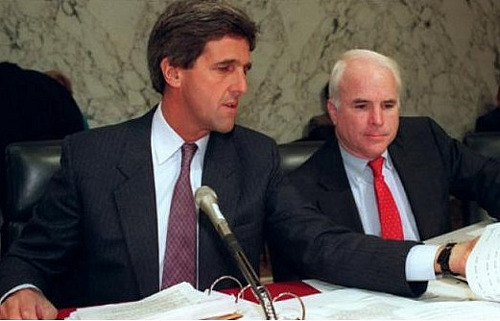 Page 191-92 – Senators John McCain and John Kerry during the hearings held by the Senate Select Committee on POW/MIA Affairs. (Photo: Getty Images)
