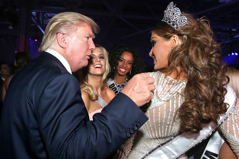 Donald Trump and Miss Universe 2013 Gabrielle Isler of Venezuela - Vanity Fair via Atticmag